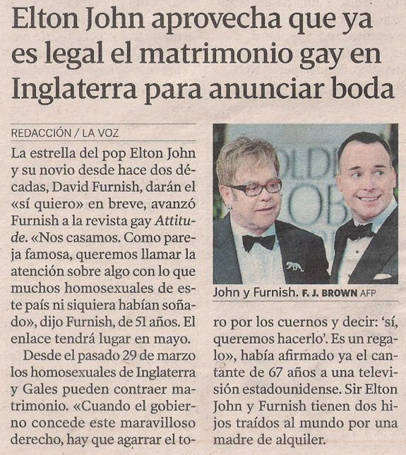 2014-04-01- La Voz de G- Matrimonio Gay en UK - Elton John